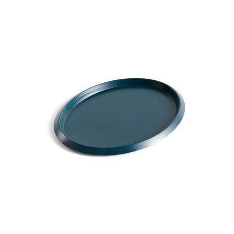 HAY Tablett Ellipse Tablett S dunkelgrüner Stahl 23,5 x 18,5 x 1,5 cm