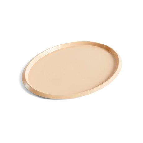 HAY Tray Ellipse Tray M beige steel 31.5x24.5x1.5cm