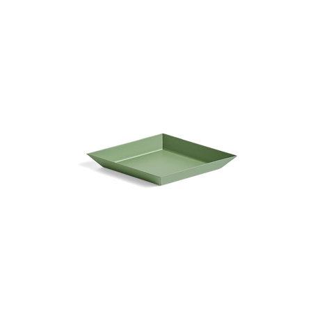 HAY Tablett Kaleido XS olivgrüner Stahl 19x11cm