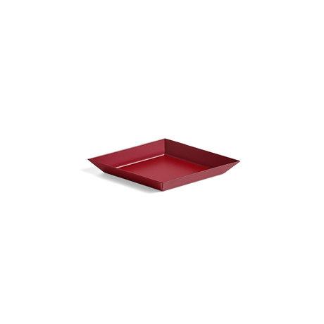 HAY Vassoio Kaleido XS in acciaio rosso scuro 19x11cm