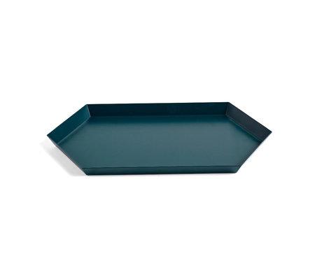 HAY Tablett Kaleido M dunkelgrüner Stahl 33,5 x 19,5 cm