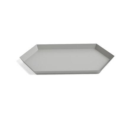 HAY Tablett Kaleido M grauer Stahl 33,5 x 19,5 cm