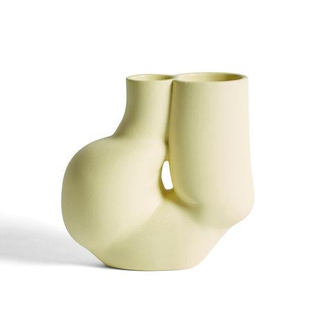 HAY Vase Chubby hellgelbes Porzellan 20x10,5x19,5cm