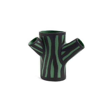 HAY Vase Tree Trunk S dunkelgrünes Steingut 15cm