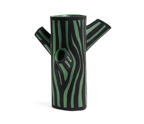 HAY Vase Tree Trunk M dunkelgrünes Steingut 30cm
