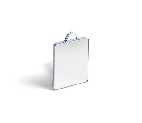 HAY Mirror Ruban Rectangular S Stripe blue glass plastic 10x12cm