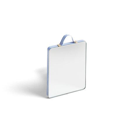 HAY Miroir Ruban Rectangulaire S Stripe verre bleu plastique 10x12cm