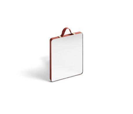 HAY Miroir Ruban Rectangulaire S verre plastique rouge 10x12cm