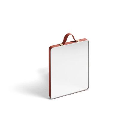 HAY Specchio Ruban Rettangolare S rosso vetro plastica 10x12cm