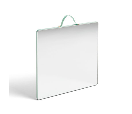 HAY Specchio Ruban Square L verde menta vetro plastica 26x26cm