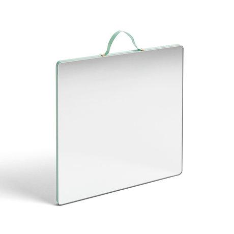 HAY Espejo Ruban Square L verde menta vidrio plástico 26x26cm