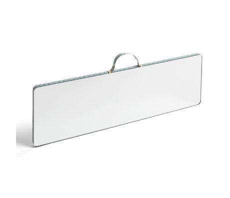 HAY Specchio Ruban Rettangolare L Stripe vetro plastica verde 43,5x13,5cm