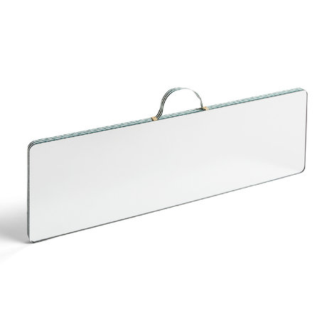 HAY Miroir Ruban Rectangulaire L Stripe verre vert plastique 43,5x13,5cm