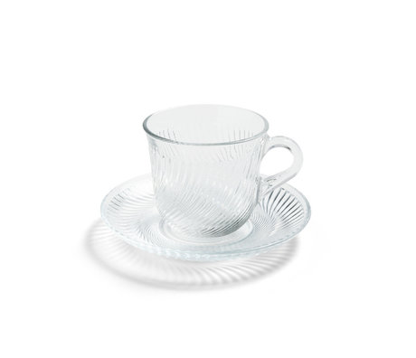 HAY Cup with saucer Pirouette transparent glass Ø14x9cm
