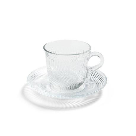 HAY Tasse avec soucoupe Pirouette verre transparent Ø14x9cm