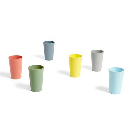 HAY Vaso Paquet plástico multicolor set de 6 Ø7,5x11cm
