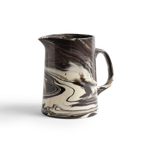 HAY Cruche Marbrée Pichet porcelaine noire Ø16x21cm
