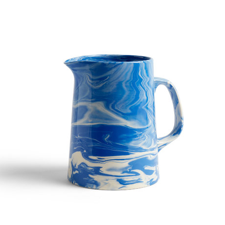 HAY Pichet en porcelaine marbrée bleu Ø16x21cm