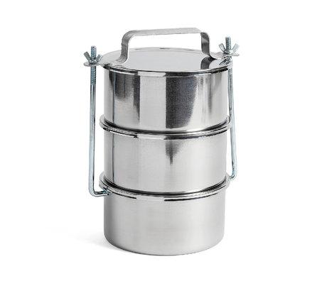 HAY Boîte de rangement Pique-nique Container L lot de 3 acier inoxydable argenté Ø18x29,5cm