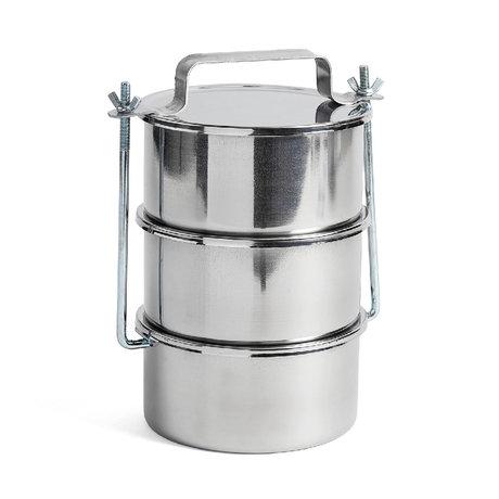 HAY Aufbewahrungsdose Picknickbehälter L 3er Set Silber Edelstahl Ø18x29,5cm