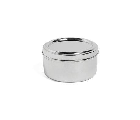 HAY Lunchbox Round con vassoio in acciaio inossidabile argento Ø15x8cm