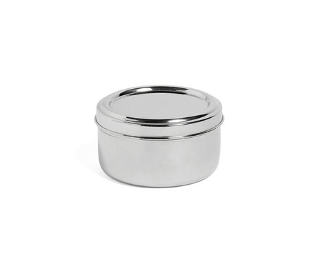 HAY Lunchbox Round with Tray silver stainless steel Ø15x8cm