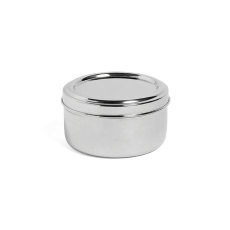 HAY Lunchbox Round mit Tablett Silber Edelstahl Ø15x8cm