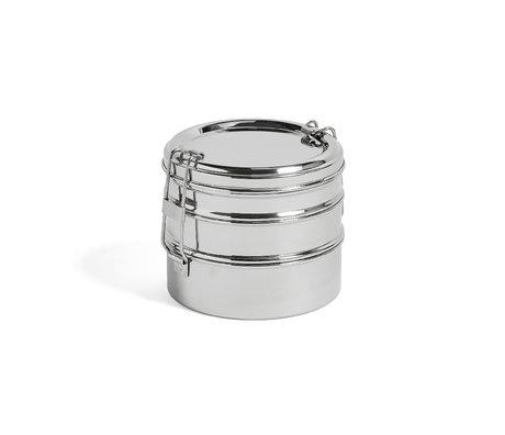 HAY Lunchbox Round 3 Layers Silber Edelstahl Ø13x11cm