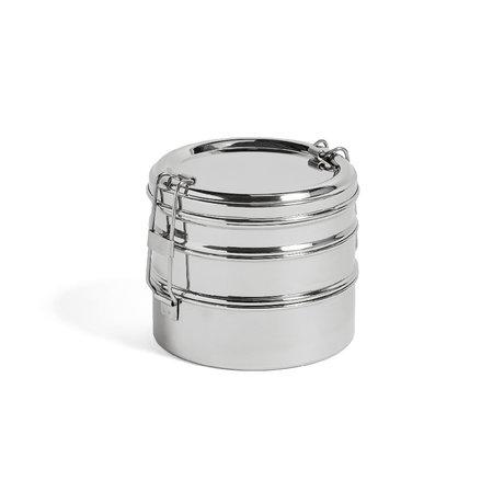 HAY Boîte à lunch ronde 3 couches acier inoxydable argenté Ø13x11cm