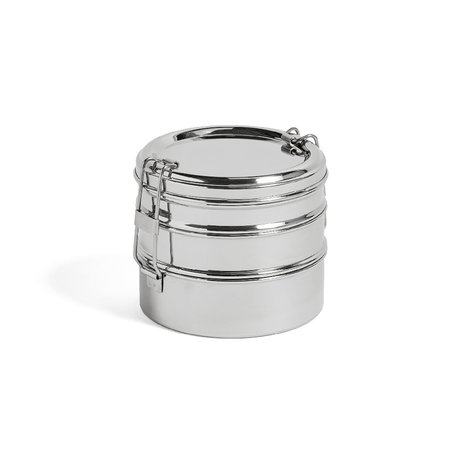 HAY Lunchbox Round 3 Layers silver stainless steel Ø13x11cm