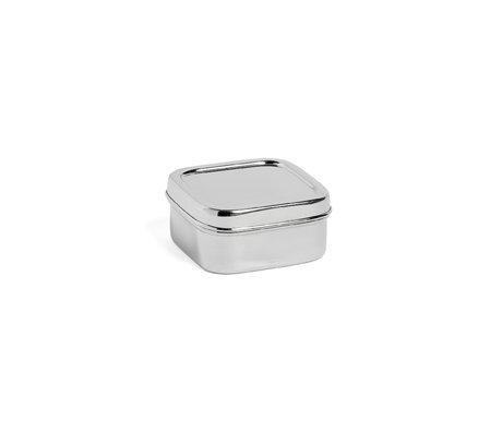 HAY Fiambrera cuadrada XS plata acero inoxidable 10x10x5cm