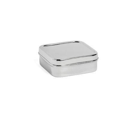 HAY Lunch box Square S argento in acciaio inossidabile 13,5x13,5x5cm