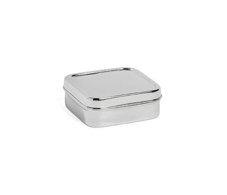 HAY Lunch box Square S silver stainless steel 13.5x13.5x5cm