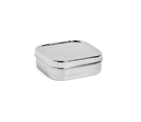 HAY Lunchbox Square M silver stainless steel 16x16x5.5cm