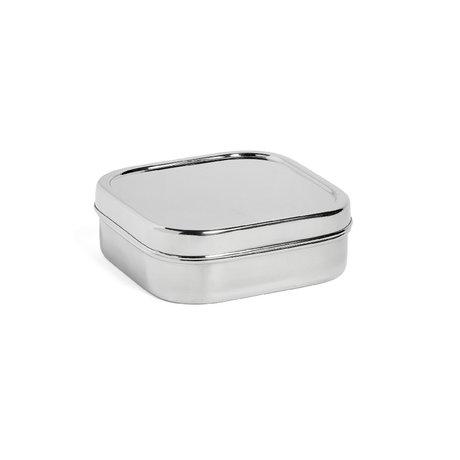 HAY Fiambrera cuadrada M plata acero inoxidable 16x16x5,5cm