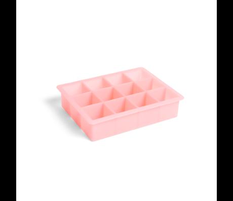 HAY Eiswürfelform Quadrat 12 Würfel rosa Silikon 18x14x4cm