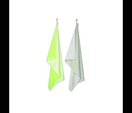 HAY Tea towel Block Dots bright yellow textile set of 2 75x52cm