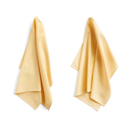 HAY Set de 2 torchons Check coton jaune clair 75x52cm