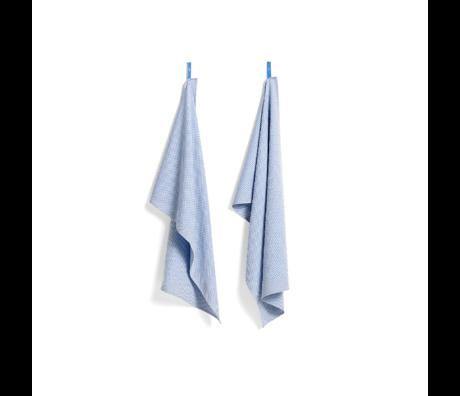 HAY Torchon Check bleu clair en coton lot de 2 75x52cm