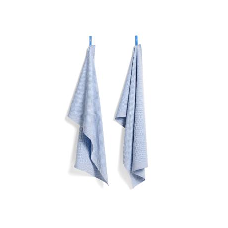 HAY Strofinaccio Check in cotone azzurro set di 2 75x52cm