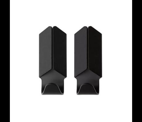 HAY Wandhaken Volet schwarz Aluminium 2er Set 3,5x8cm