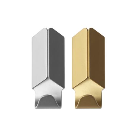 HAY Gancio a parete Volet oro alluminio set di 2 3.5x8cm