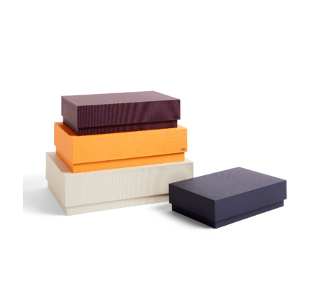 HAY Boîte de rangement Boîte carton marron orange lot de 4 32x29x9cm