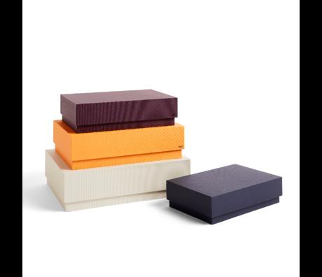 HAY Caja de almacenamiento Caja de cartón marrón naranja juego de 4 32x29x9cm