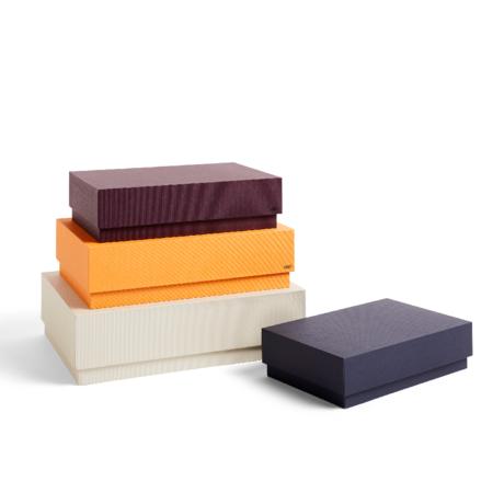 HAY Scatola portaoggetti Box marrone arancio cartone set di 4 32x29x9cm