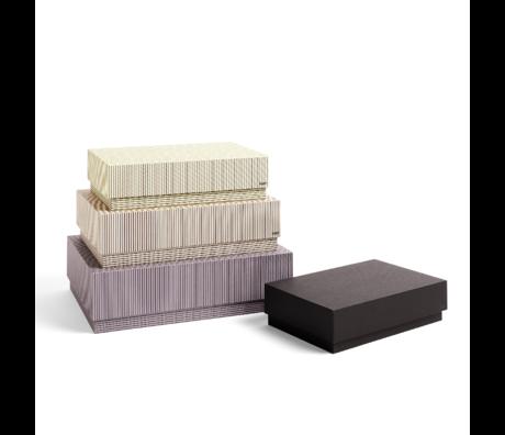 HAY Boîte de rangement Boîte carton gris beige lot de 4 32x29x9cm