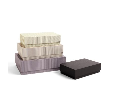 HAY Caja de almacenaje Caja cartón beige gris set de 4 32x29x9cm