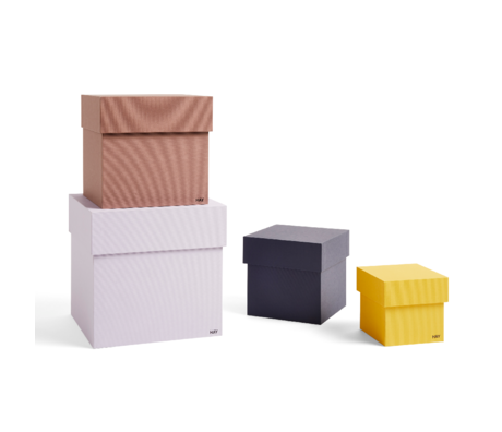 HAY Aufbewahrungsbox Box lila gelber Karton 4er Set 23x23x23cm