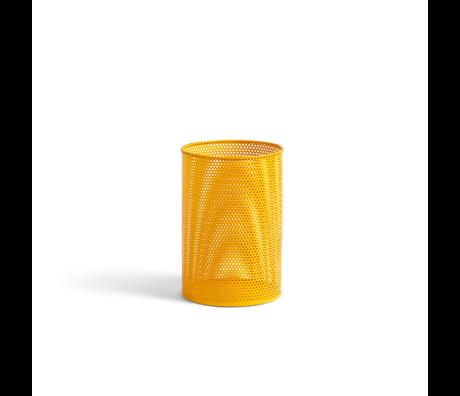 HAY Trash can Perforated Bin M yellow metal Ø25x36cm