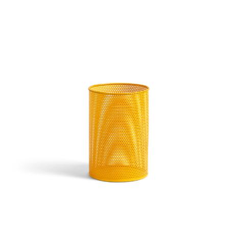 HAY Mülleimer Perforierter Behälter M gelbes Metall Ø25x36cm
